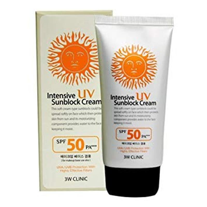 Солнцезащитный крем 3W Clinic Intensive UV Sun Block Cream SPF 50 PA